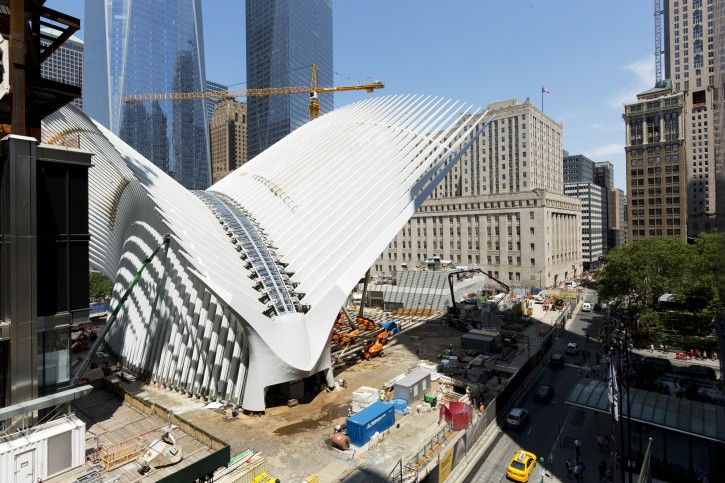 FILE - In this July 16, 2015. file photo, the World Trade Center Transportation Hub, designed by Spanish architect Santiago Calatrava, is under construction in New York. The hub is scheduled to open in early March, 2016, according to the Port Authority of New York and New Jersey. (AP Photo/Mark Lennihan, File)