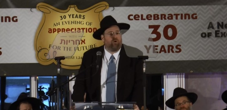 Los Angeles philanthropist Shlomo Yehuda Rechnitz at his speech Sunday Jan. 24, 2016 in Lakewood, NJ. (Courtesy of TheLakewoodscoop.com)