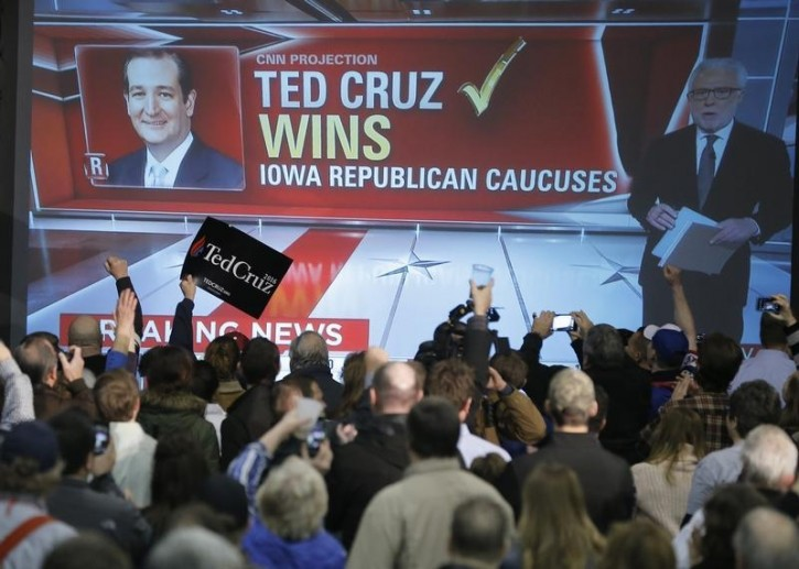 A screen shows CNN projecting U.S. Republican presidential candidate Ted Cruz will win the Iowa caucus in Des Moines, Iowa, United States, February 1, 2016. REUTERS/Jim Young