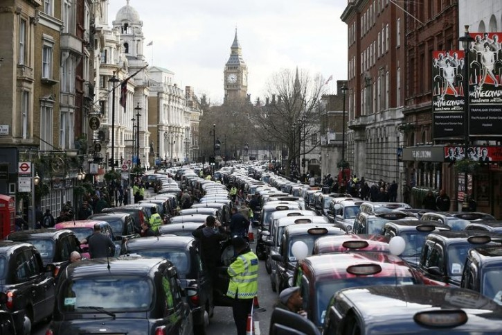 London – 8,000 Black Cabs Bring London To A Standstill To Protest Against Uber