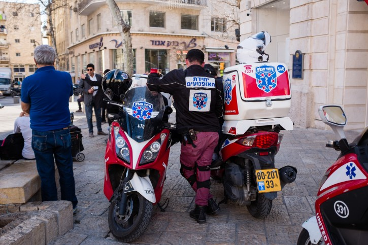 FILE - The United Hatzalah Unit seen standing in central Jerusalem on March 7, 2016. Photo by Corinna Kern/Flash90