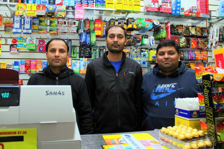Workers Mahesh, Kiran and Bhavik of Ambe Deli & Grocery act as Shabbos Goy. (Credits: Roy Renna/VINnews.com)