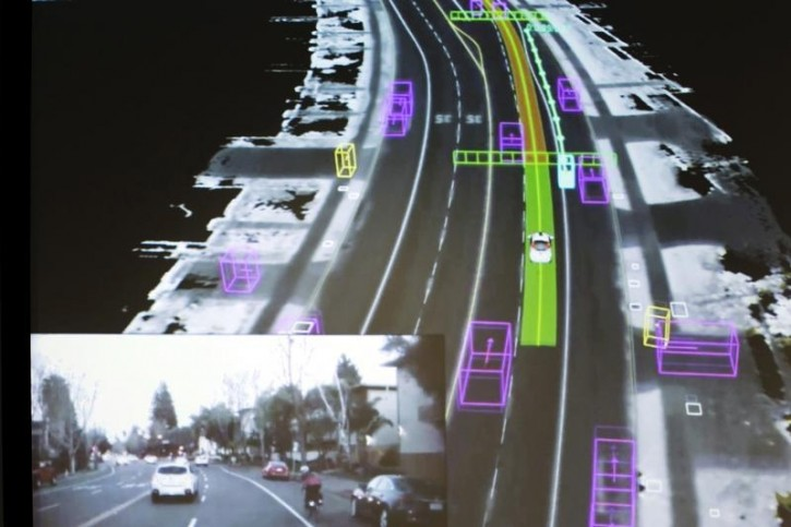 Video captured by a Google self-driving car, inset, is coupled with the same street scene as the data is visualized by the car during a presentation at a media preview of Google's prototype autonomous vehicles in Mountain View, California, in this file photo taken September 29, 2015. REUTERS