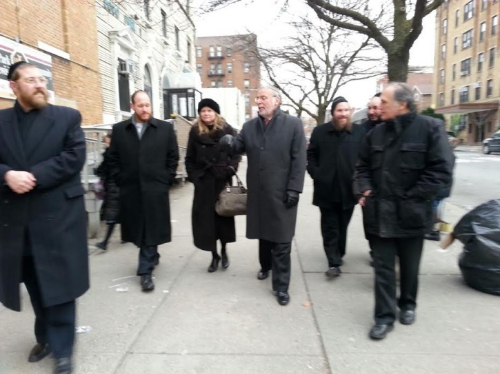 FILE - Jan. 15, 2015 - Hikind Tours Community With Sanitation Commissioner & Greenfield, Demonstrating School Bus-sanitation Conflict