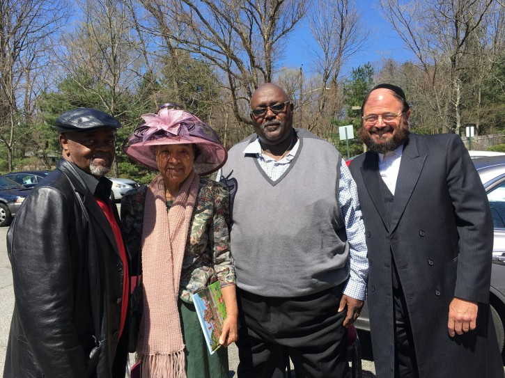(L-R)  Willie Trotman, president of the Spring Valley branch of the NAACP, Dr. Frances Pratt, president of the Nyack NAACP,  Wilbur Aldridge, director of the Mid-Hudson and Westchester regions of the NAACP,  Rabbi Yaakov Horowitz dean of Yeshiva Darchei Noam.