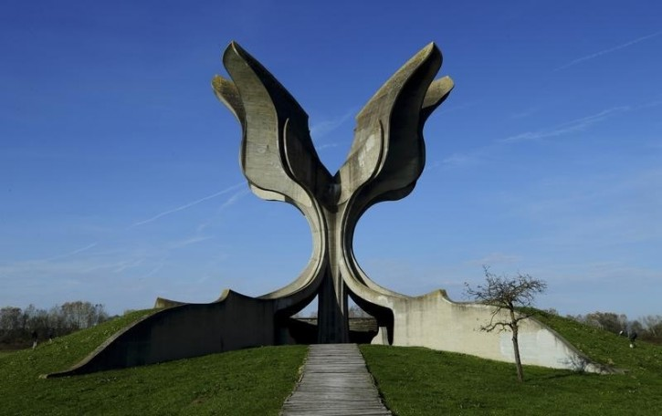 FILE - General view of a monument to affected detainees of Jasenovac camp in Jasenovac November 5, 2014. REUTERS/Antonio Bronic