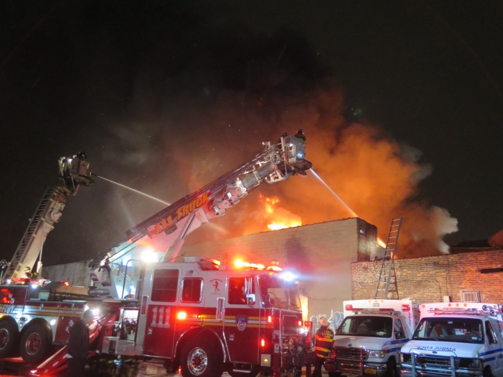 About 200 firefighters respond to a 5-alarm warehouse fire at Parkside Ave & Nostrand Ave in Brooklyn. (Aaron Berger/VINnews.com)