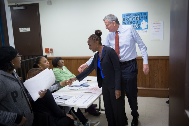 FILE - Mayor Bill de Blasio and New York City's First Lady Chirlane McCray vote in the New York  presidential primary on Tuesday, April 19, 2016. Michael Appleton/Mayoral Photography Office