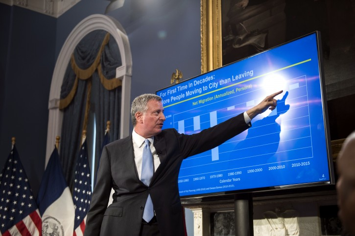 Mayor Bill de Blasio presents the Fiscal Year 2017 Executive Budget. Blue Room, City Hall. Tuesday, April 26, 2016. Credit: Demetrius Freeman/Mayoral Photography Office.