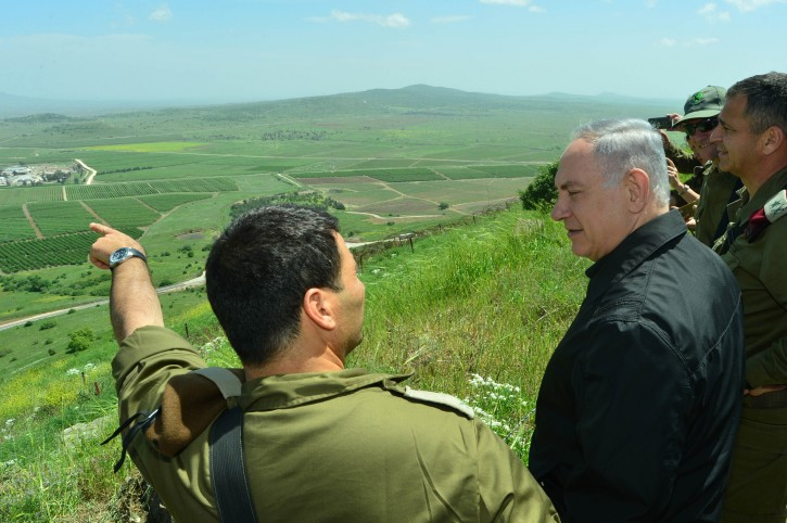 Israeli prime minister Benjamin Netanyahu seen during a security and defense tour in the Golan Heights, near the Northern Israeli border with Syria. April 11, 2016. Photo by Kobi Gideon/GPO