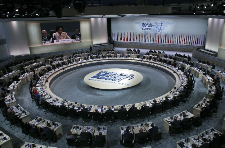 President Barack Obama and other world leaders meet during the opening plenary session of the Nuclear Security Summit, Friday, April 1, 2016, in Washington. (AP Photo/Alex Brandon)