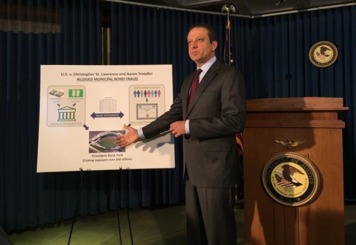 Preet Bharara, the U.S. Attorney for the Southern District of New York, speaks at a press conference in Manhattan April 14, 2016, to announce a securities fraud case against officials in the town of Ramapo, New York, for defrauding investors. The FBI has arrested the town supervisor of Ramapo, New York, whose municipal bonds have been at the center of an investigation of potential securities violations, an agency spokeswoman said on Thursday.  REUTERS/Nate Raymond