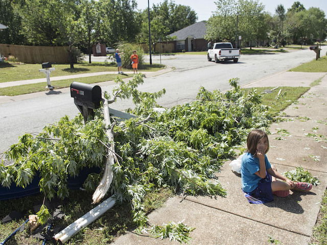 Stella Quintero, 6, sits on the sidewalk collecting fallen leaves in front of her home in the Woodlands neighborhood of Lindale, Texas Saturday, April 30, 2016. A suspected tornado came through the area Friday night. (Sarah A. Miller/Tyler Morning Telegraph via AP)