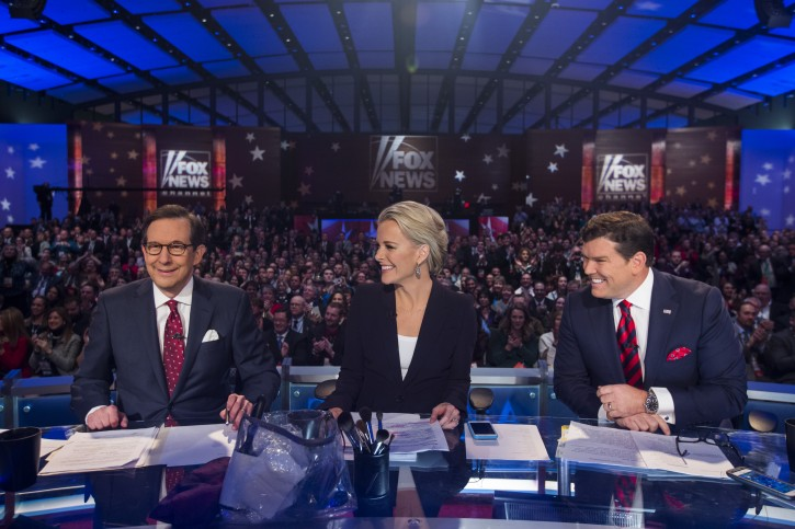 FILE - Fox News debate moderators Chris Wallace (L), Megyn Kelly (C) and Bret Baier (R) prepare for the start of a Republican Presidential debate, sponsored by Fox News and Google, at the Iowa Events Center in Des Moines, Iowa, USA, 28 January 2016. EPA