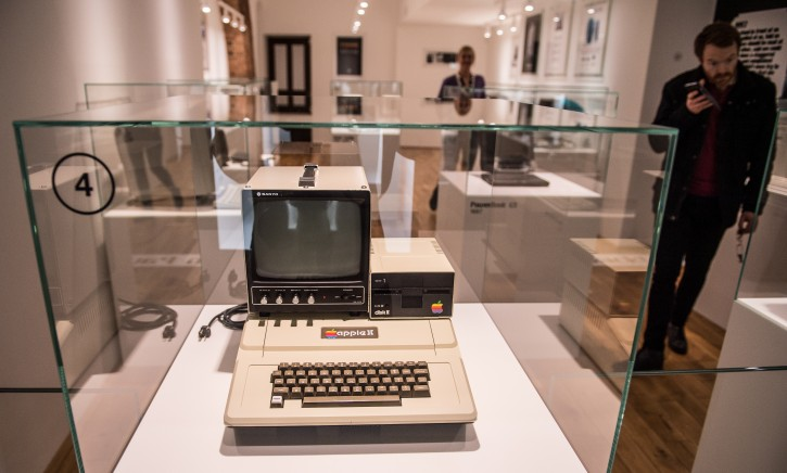 The 1977 Apple II on display at the Apple Museum in Prague Czech Republic, 31 March 2016. Apple, that marks its 40th anniversary of founding on 01 April 2016, was founded by Steve Wozniak, Steve Jobs, and Ronald Wayne on 01 April 1976.  EPA/FILIP SINGER