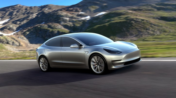 An undated handout photo made available by Tesla late 31 March 2016 shows the Tesla Model 3 electric car that was unveiled in Hawthorne, California, USA, 31 March 2016. EPA
