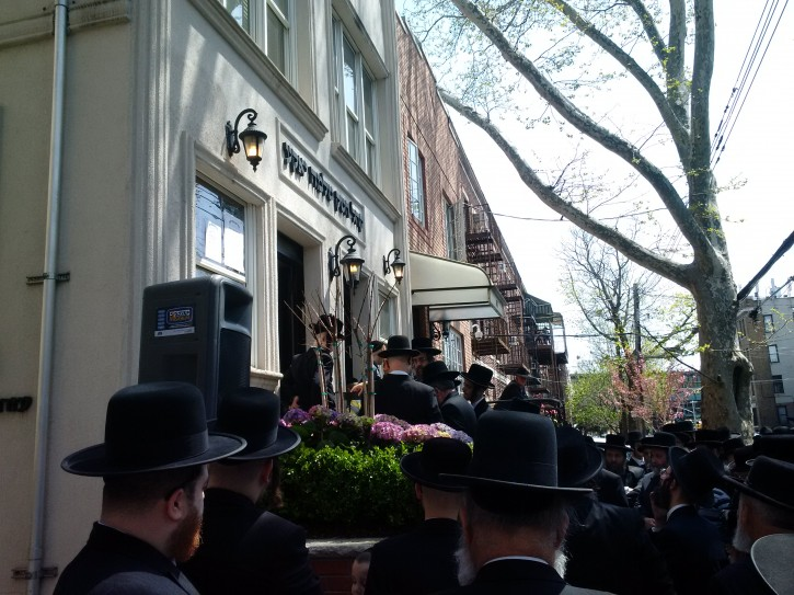 The Levaya at his 55th Street synagogue in Borough Park.