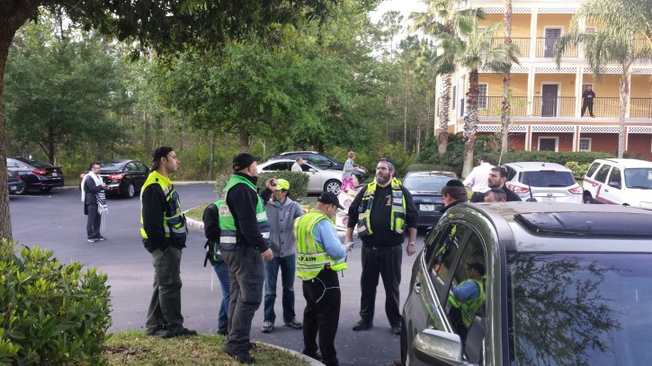 Volunteers of Florida Chesed Shel Emes organizing a search at the Caribe Resort located at 9000 Treasure Trove Lane in Kissimmee, where the two girls went missing