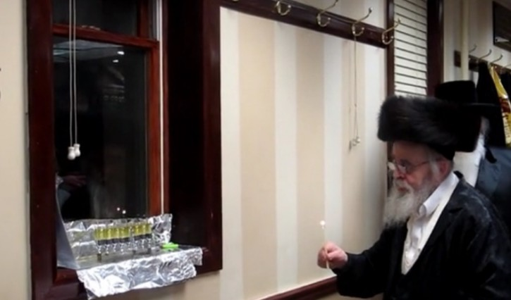 Yoka Rebbe seen here in 2014 at Chanukah celebration in his Shul on 55th Street and 12th Ave in Brooklyn.