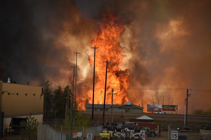 Flames rise in Industrial area south Fort McMurray, Alberta Canada May 3, 2016. Courtesy CBC News/Handout via REUTERS