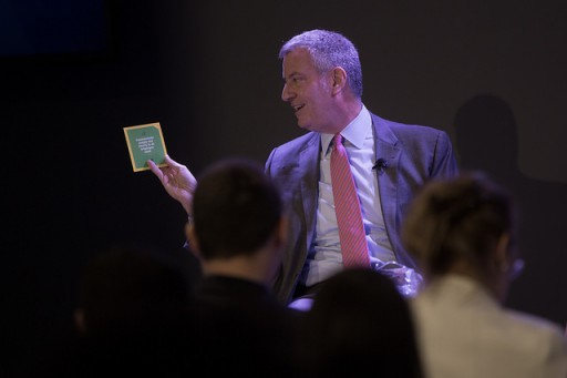 "File: Mayor Bill de Blasio during a Civic Hall ""fireside chat"". Michael Appleton/Mayoral Photography Office"