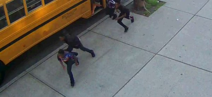 The NYPD released surveillance video of five boys wanted for arson of a school bus in Crown Heights.