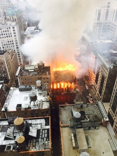 Firefighters battle flames at an historic Serbian Orthodox Cathedral of St. Sava in New York, Sunday, May 1, 2016. The church was constructed in the early 1850s and was designated a New York City landmark in 1968. (Anindya Ghose via AP)
