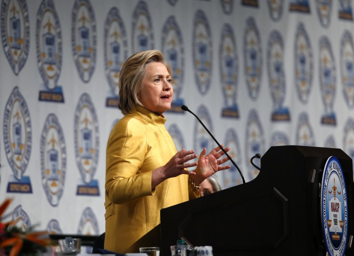 Democratic presidential candidate Hillary Clinton speaks at the NAACP's 61st annual Fight for Freedom Fund dinner in Detroit, Sunday, May 1, 2016.  (AP Photo/Paul Sancya)