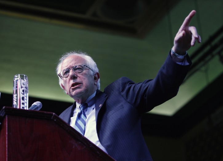 Democratic presidential candidate, Sen. Bernie Sanders, I-Vt., speaks at a campaign rally Monday, May 9, 2016 in Atlantic City, N.J. (AP Photo/Mel Evans)