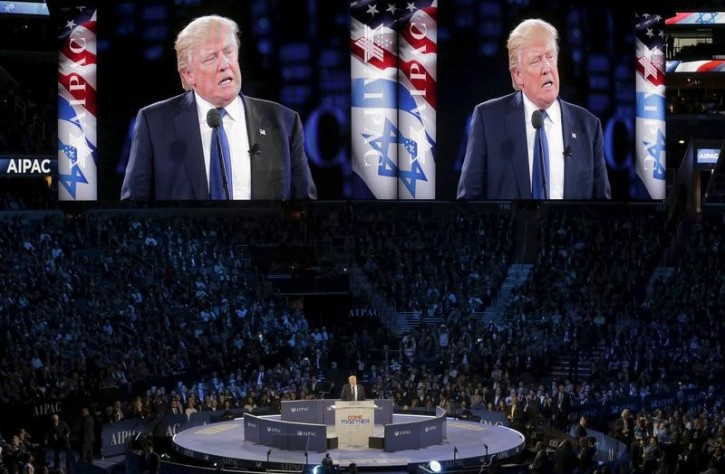 FILE - Republican U.S. presidential candidate Donald Trump addresses the American Israel Public Affairs Committee (AIPAC) afternoon general session in Washington March 21, 2016.      REUTERS/Joshua Roberts