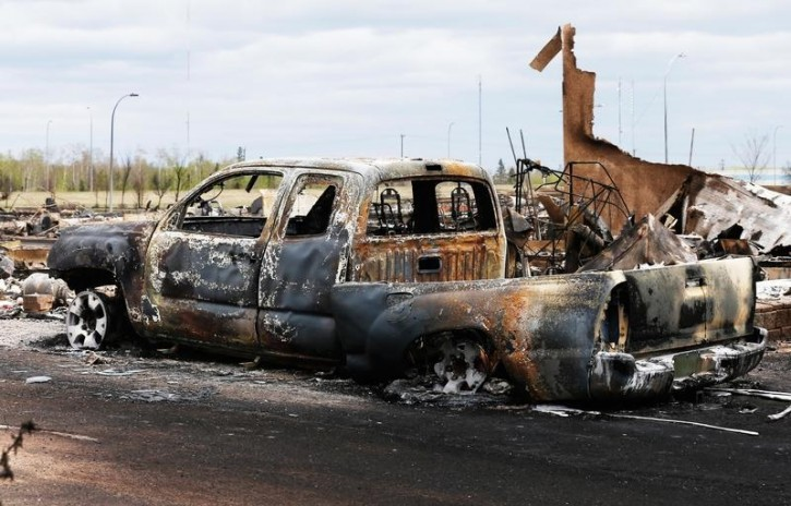 A charred truck lies in the burned out Beacon Hill neighbourhood of Fort McMurray, Alberta, Canada, May 9, 2016 after wildfires forced the evacuation of the town. REUTERS/Chris Wattie