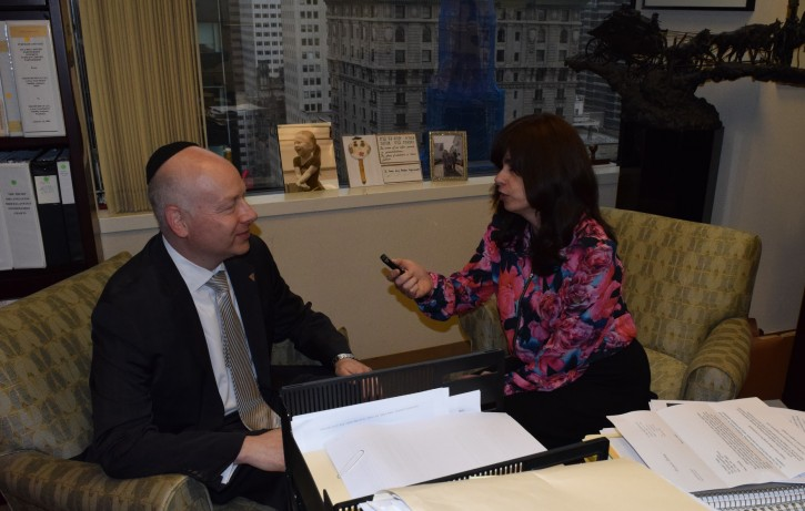 VIN News Associate Editor Sandy Eller in interview with Jason Greenblatt at the Trump Tower in New York City on May 3, 2016.