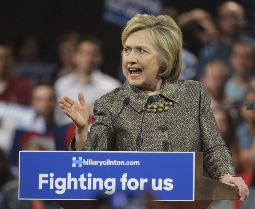 Democratic presidential candidate Hillary Clinton speaks during a primary night event at the Pennsylvania Convention Center in Philadelphia, Pennsylvania, 26 April 2016. EPA/TRACIE VAN AUKEN