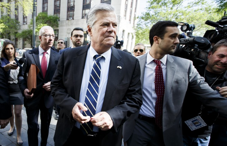 Former Republican Senate Majority Leader Dean Skelos (C) arrives to a federal courthouse  to be sentenced on corruption charges in New York, New York, New York, USA, 12 May 2016. EPA