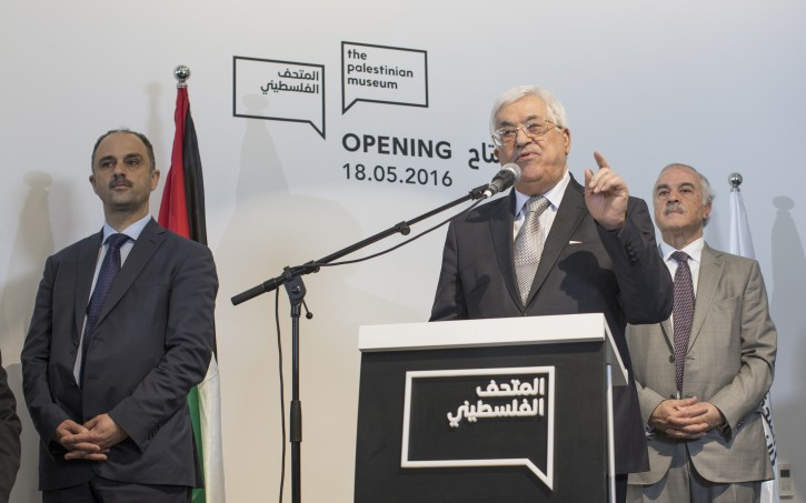 President Mahmoud Abbas of the Palestinian Authority gives a speech during the opening ceremony of the Palestinian Museum for Arts and History, located in West Bank town of BirZeit, north of Ramallah, 18 May 2016. The $30 million Palestinian Museum contemporary building aims to redefine the Palestinian art, history and culture.  EPA/ATEF SAFADI