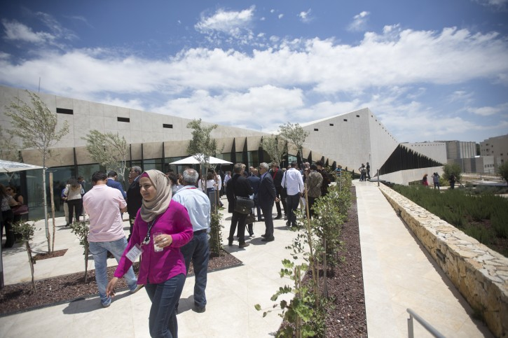 Palestinians attend the opening ceremony of the Palestinian Museum for Arts and History, located in West Bank town of BirZeit, north of Ramallah, 18 May 2016. The $30 million Palestinian Museum contemporary building aims to redefine the Palestinian art, history and culture.  EPA/ATEF SAFADI