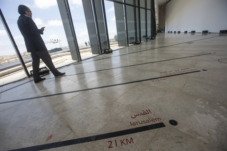 Palestinians tour at the Palestinian Museum for Arts and History during the opening ceremony, in West Bank town of BirZeit, north of Ramallah, 18 May 2016. The $30 million Palestinian Museum contemporary building aims to redefine the Palestinian art, history and culture.  EPA/ATEF SAFADI
