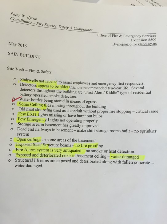 Copy of the inspection of the Sain Building on May, 2016