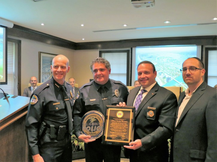 L-R Chief Overton of the Bal Harbour PD. Officer George Waisman. Mark Rosenberg , CSE - Chaplain FHP and David Katz, CSE.