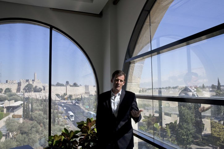 """In this photo taken Wednesday, July 13, 2016, Dave Harden, outgoing Director for the U.S. Agency for International Development mission in the West Bank and Gaza Strip, speaks during an interview with The Associated Press in Jerusalem. After 11 years helping oversee the U.S. government's aid efforts to lay the foundations for a future Palestinian state, the man in charge of the mission is unsure whether that vision has inched any closer to reality. """"It's frustrating. It's definitely frustrating,"""" saysHarden. (AP Photo/Sebastian Scheiner)"""