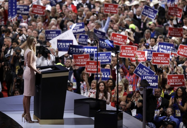 Ivanka Trump, daughter of Republican presidential candidate Donald Trump, speaks during the final day of the Republican National Convention in Cleveland, Thursday, July 21, 2016. (AP Photo/John Locher)