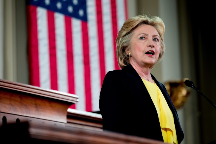 Democratic presidential candidate Hillary Clinton Speaks at the Old State House in Springfield, Wednesday, July 13, 2016. (AP Photo/Andrew Harnik)