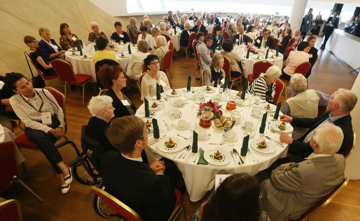 Christian Poles who saved Jews during the Holocaust, attend a luncheon in Warsaw, Poland, Sunday July 10, 2016. A group of Polish Christians who risked their lives to give aid to Jews during the Holocaust were brought together for a luncheon in Warsaw to be honored and celebrated by a U.S.-based Jewish organization that provides aid to these rescuers. (AP Photo/Czarek Sokolowski)