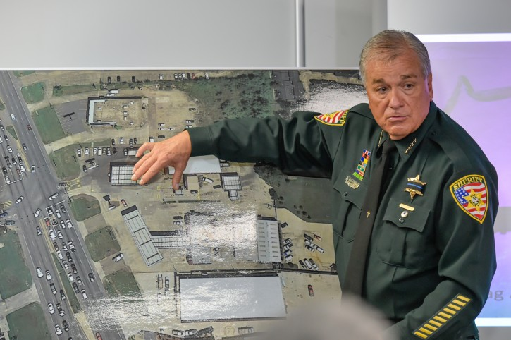 Sheriff Sid Gautreaux explains shooters actions during a news conference regarding the shooting of police officers, in Baton Rouge, Monday, July 18, 2016. Multiple police officers were killed and wounded Sunday morning in a shooting near a gas station in Baton Rouge, less than two weeks after a black man was shot and killed by police, sparking nightly protests across the city. (Scott Clause/The Daily Advertiser via AP)