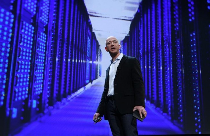 FILE - Amazon CEO Jeff Bezos speaks at a news conference during the launch of Amazon's new tablets in New York, September 28, 2011. Reuters