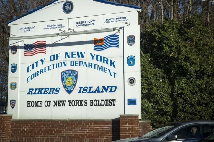 FILE - A car exits the Rikers Island Correctional facility in New York March 12, 2015.  REUTERS/Brendan McDermid