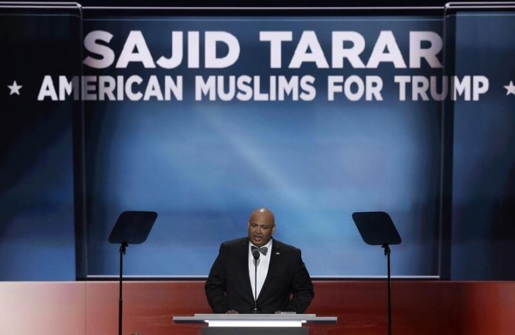 """FILE - Sajid Tarar, Founder of """"American Muslims for Trump,"""" delivers the benediction at the conclusion of the second night of the Republican National Convention in Cleveland, Ohio, U.S. July 19, 2016. REUTERS/Mike Segar"""