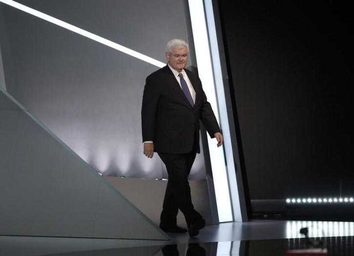Former U.S. House Speaker Newt Gingrich takes stage to speak during the third day of the Republican National Convention in Cleveland, Ohio, U.S. July 20, 2016. REUTERS/Mike Segar