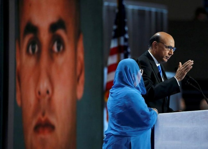 Khizr Khan, who's son Humayun (L) was killed serving in the U.S. Army, speaks at the Democratic National Convention in Philadelphia, Pennsylvania, U.S. July 28, 2016. REUTERS/Lucy Nicholson