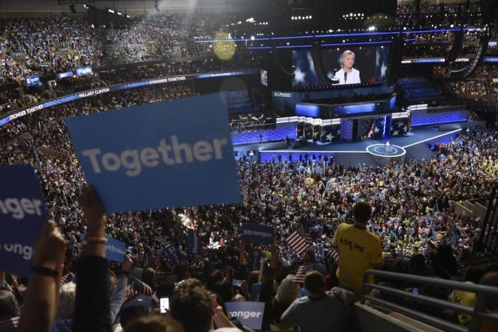 Democratic presidential nominee Hillary Clinton accepts the nomination on the final night at the Democratic National Convention in Philadelphia, Pennsylvania. U.S. July 28, 2016.  REUTERS/Charles Mostoller